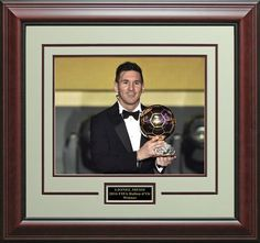 Lionel Messi 2015 Ballon d'Or Winner Trophy 8x10 Photo Framed.