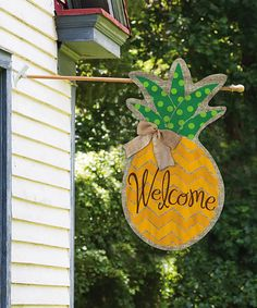 This Pineapple Polka Dot Burlap Outdoor Flag is perfect! #zulilyfinds