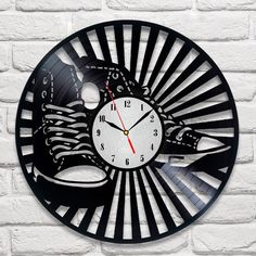 Converse design vinyl record wall clock home art playroom bedroom shop office