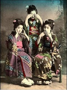"""RPPC, Century/Early Century Japan, """"See no evil, speak no evil, hear no evil"""" Japanese Photography, Old Photography, Vintage Japanese, Japanese Art, Three Wise Monkeys, Image Nature, Japanese Culture, Vintage Pictures, Vintage Photographs"""