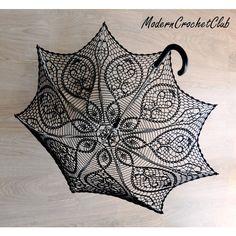 BLACK Crochet Umbrella- Victorian Parasol- Goth Umbrella- Steampunk... (375 PLN) ❤ liked on Polyvore featuring accessories, umbrellas, goth umbrella, victorian umbrella and gothic umbrella