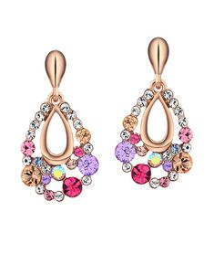 0c9b0b213 Alloy Colorful Water Drop Earrings with Crystal- Christmas Gift - Pink -  C311CLWZ4SZ