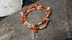 Armband aus Koralle, Karneol, Mondstein und Sterlingsilber 925