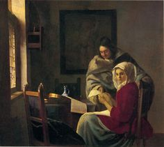 Johannes Vermeer - Girl Interrupted at her Music 1660–61 Oil on canvas, 39.4 × 44.5 cm	Frick Collection, New York