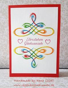 Geburtstag - Fadengrafik Grußkarten Set 225 Swirls 06 - ein Designerstück von Bastelfan1809 bei DaWanda