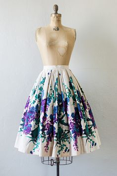 vintage 1950s indigo violet floral cotton flared skirt