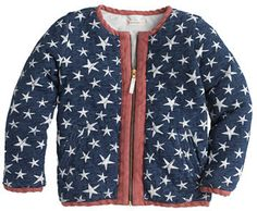 Girls' cotton zip jacket in celestial print