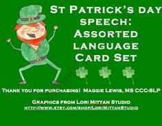 St. Patrick's Day Assorted Speech Language Cards product from MaggieSLP on TeachersNotebook.com