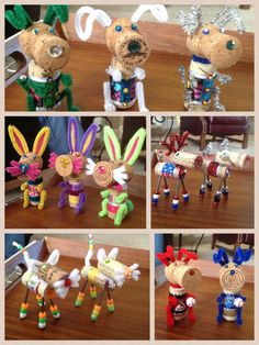 My Half Corked Critters - Unfortunately I lost all the pics of the Christmas and sports team deer that I did a few months ago. Wine Cork Projects, Wine Cork Crafts, Cork Ideas, Diy Ideas, Craft Ideas, Christmas Ideas, Christmas Crafts, Christmas Ornaments, Wine Cork Ornaments