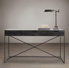 "$1195 56""W x 28""D x 31""H Gramercy Mirrored Desk"