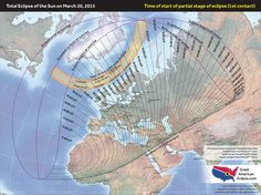 "Path of the March 20, 2015 solar eclipse. It occurs on the day of the March equinox, which hasn't happened since the 17th century. The only land areas where the total eclipse may be visible are the Faroe Islands and the island of Svalbard. But Europe, North Africa, parts of the Middle East & north central Asia will have a partial eclipse. Mona Evans, ""Solar Eclipses"" http://www.bellaonline.com/articles/art28395.asp"