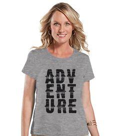 Camping Shirt - Adventure Shirt - Womens Grey T-shirt - Ladies Camping, Hiking, Outdoors, Mountain, Nature Top - Funny Humorous T-shirt