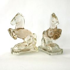 (I have one of these!) Vintage Glass Horse Bookends by RhapsodyAttic