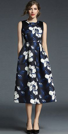 Fashion O-Neck Sleeveless Floral Print Maxi Dress