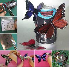 Mariposas recicladas para decorar - http://decoracion2.com/mariposas-recicladas-para-decorar/69013/?utm_source=smdeco2&utm_medium=socialclic&utm_campaign=69013 #Ideas_Para_Decorar, #Manualidades, #Reciclaje