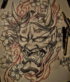 Big hanya mask up for grabs in the UK🇬🇧 🇬🇧 would love to do it on a thigh Samurai Maske Tattoo, Hannya Maske Tattoo, Oni Mask Tattoo, Samurai Warrior Tattoo, Hanya Tattoo, Japanese Demon Tattoo, Tattoo Japanese Style, Japanese Tattoo Designs, Japanese Sleeve Tattoos