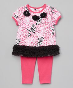 Look what I found on #zulily! Buster Brown Fuchsia Purple & Black Ruffle Cheetah Swing Top & Shorts - Infant by Buster Brown #zulilyfinds