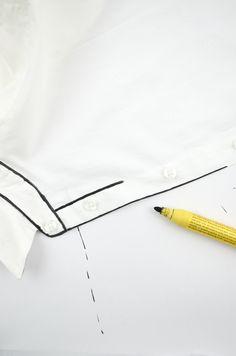 Von der braven weißen Bluse zum grafischen schwarz-weiß Hingucker: DIY Bluse monochrom | DIY shirt monochrome