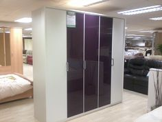 Purple and white 5 door wardrobe