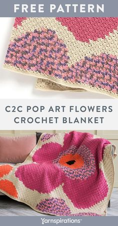 Free C2C Pop Art Flowers Crochet Blanket pattern using Caron One Pound Yarn. Done in the popular corner-to-corner double crochet block technique, this crochet blanket really packs a punch of color! Follow the chart provided as you work in double crochet, chain, color changes and intarsia techniques. It's a great spring project for the home! #Yarnspirations #FreeCrochetPattern #CrochetAfghan #CrochetThrow #CrochetBlanket #CornerToCorner #CrochetFlower #CaronYarn #CaronOnePound Crochet Chain, Quick Crochet, C2c Crochet, Crochet Blocks, Freeform Crochet, Learn To Crochet, Crochet Crafts, Double Crochet, Crochet Projects