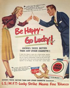 Lucky Strike Cigarette Ad Vintage Magazine by APaperReverie, $10.00
