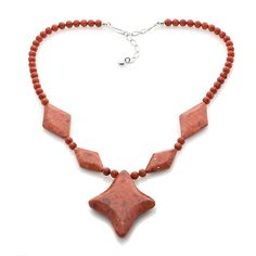 Jay King Red Coral Beaded Drop Necklace