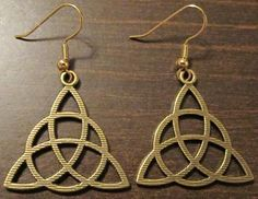 Wicca Wiccan Triquetra Trinity Knot Triple Goddess Dangle Earrings Jewelry FREE SHIPPING!