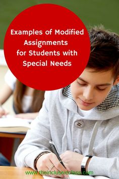 Examples of Modified Assignments for Students with Special Needs- for related pins and resources follow http://www.pinterest.com/angelajuvic/autism-special-needs/