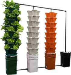Amazon.com : Large 5 Tier Vertical Garden Tower - 5 Black Stackable Indoor / Outdoor Hydroponic and Aquaponic Planters (64 Quart Tower - 16x16x38) : Patio, Lawn & Garden