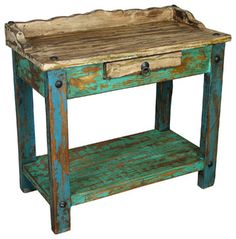 Painted Wood Telephone Table - side tables and accent tables - other metro - Direct From Mexico Home Furnishings