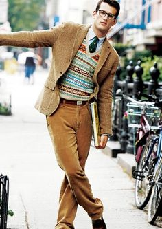 men's fashion & style | gold cords w/ a fancy sweater that works with the jacket & tie like a scholar's dream of fair days