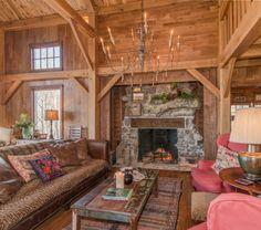 Timber Frame Homes - Homestead Timber Frames - Timber Frame Fireplace - Timber Frame Living Room - Handcrafted Timber Frames