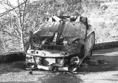 11 NYB .. 1962 .. Monte Carlo rally .. All thats left after the crash, roll, and fire of the Aaltonen / Mabbs car on the Col de Turini