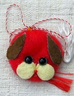 artizanat+colectii+martisoare+vintage #martisor #handmade Felt Decorations, Christmas Decorations, Christmas Ornaments, Holiday Decor, Felt Crafts, Diy And Crafts, Baba Marta, Pom Pom Animals, Holidays And Events