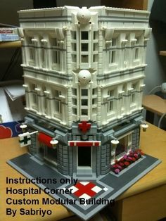 Custom Lego Modular Building Instructions 003 Hospital in Toys & Hobbies, Building Toys, LEGO Lego Creator Sets, Lego Modular, Hospital Corners, Lego Hospital, Casa Lego, Lego Village, Lego Storage, Storage Organization, Lego Trains