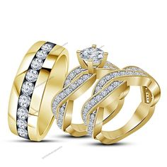 Gold Plated 3-1/6 CT  D/VVS1 Diamond Twist Bridal Ring Set With Channel Set Band #BR925