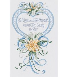 "Cherish Wedding Heart Counted Cross Stitch Kit - 9""X15"" 14 Count"