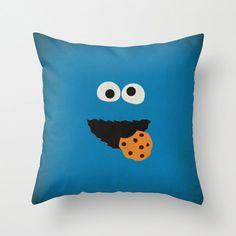 "Sesame Street Character ""Cookie Monster"" Minimalist Pillow Cushion - Retro Decoration Home Wall Nursery Art Birthday Party Sesame Fabric"