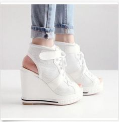 Womens Open Toe Athletic Style Wedge High Heels Shoes Lace Up Sneakers Sandals B