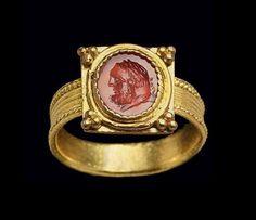 A Roman carnelian ringstone circa the 1st century AD.
