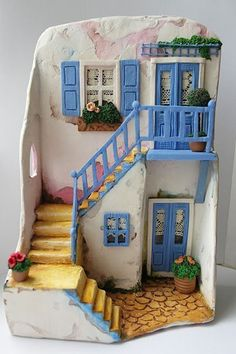 Craft-o-Rama — From Ne Desem Beğenirsin? Clay Houses, Ceramic Houses, Miniature Crafts, Miniature Houses, Miniature Dolls, Polymer Clay Crafts, Diy Clay, Clay Projects, Projects To Try