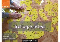 @pauliinamakela Trello-perusteet Ilona IT Oy:n henkilöstölle webinaari 27.3.2017.  Webinaarin aikana käsiteltävät teemat:  * Miksi käyttää Trelloa? * Kuinka luoda Trello-profiili? * Tärkeimmät Trello-asetukset * Tekniset Trello-toiminnot * Trello-toiminnot käytännön tasolla  Kouluttajana ja innostajana toimi Kinda Oy:n viestintäkouluttaja Pauliina Mäkelä. Scrum Board, Community Manager, Digital Marketing