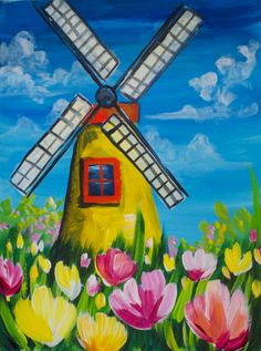 Windmill 13 - Gallery - The Art Sherpa Community Windmill Drawing, Windmill Art, Holland, Easy Landscape Paintings, The Art Sherpa, Lighthouse Painting, Art Painting Gallery, Cottage Art, Art Drawings For Kids