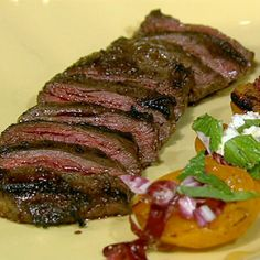 Michael Symon Skirt Steak Grilled Apricots Mint Feta