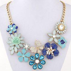 CMD by Mirna - Gemstone Decorated Flower Design floral fashion statement necklace, US$ 8, also avail in black, pink, mix