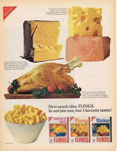 VINTAGE 1966 MAGAZINE PRINT AD NABISCO FLINGS SNACK SWISS'N HAM CHEESE CHICKEN