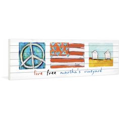 """Marmont Hill - """"Live Free Martha's Vineyard"""" by Tori Campisi Painting Print on White Pine"""