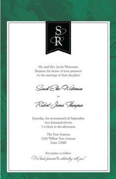 Elegant Emerald Malachite Wedding Invitation | Vistaprint