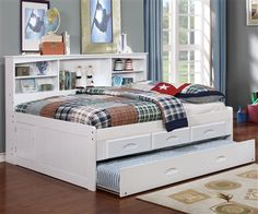 White Full Size Bookcase Captain's Day Bed with Trundle 0223 | Day Beds | Discovery World Furniture