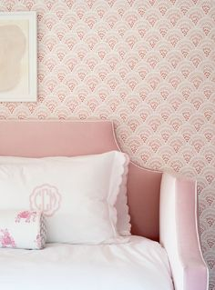 Pink scalloped bedding on a blush pink velvet daybed in a girl&;s bedroom boasting pink monogrammed a&; Pink scalloped bedding on a blush pink velvet daybed in a girl&;s bedroom boasting pink monogrammed a&; White And Pink Bedding, Pink And Gray Nursery, Pink Velvet Pillow, Pink Pillows, Preppy Bedroom, Daybed Bedding, Pink Walls, Little Girl Rooms, Bedrooms
